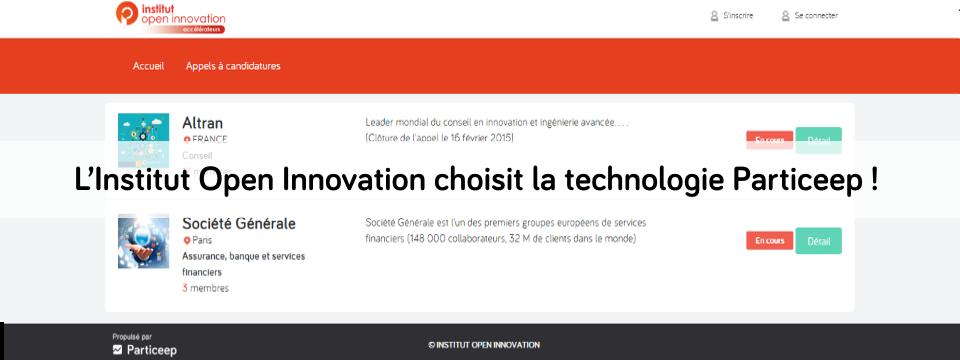 Plateforme d'appels à projets de l'Institut Open Innovation